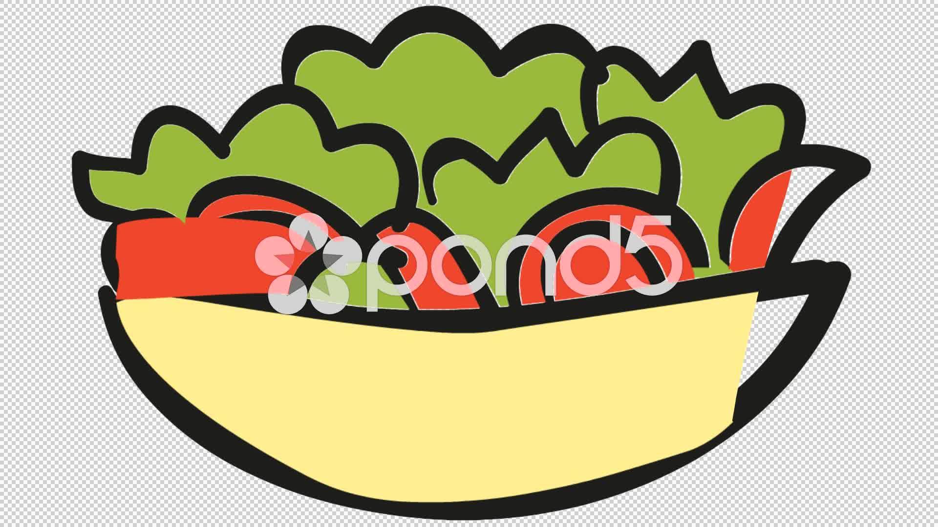 Bowl clipart salad bowl. Food line drawing animation