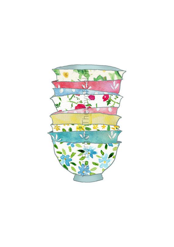 Of bowls art print. Bowl clipart stack bowl