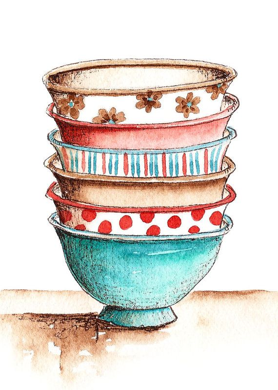 Watercolor projects paintings pinterest. Bowl clipart stack bowl