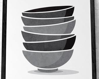 Bowl clipart stack bowl. Kitchen print stacked bowls