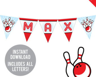 Bowling clipart banner. Party etsy instant download