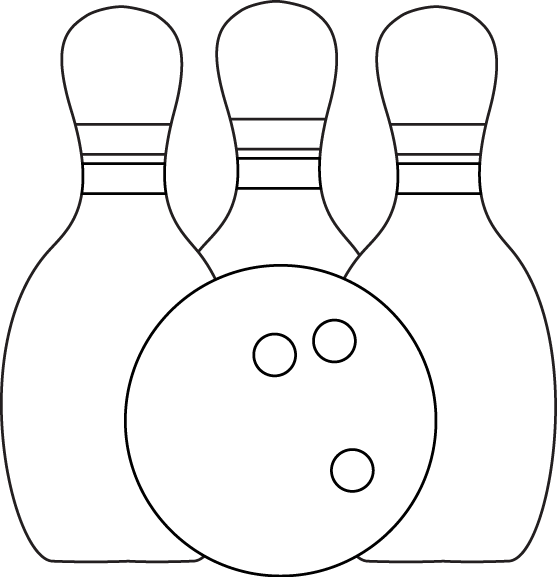 Bowling clipart black and white. Clip art images pins