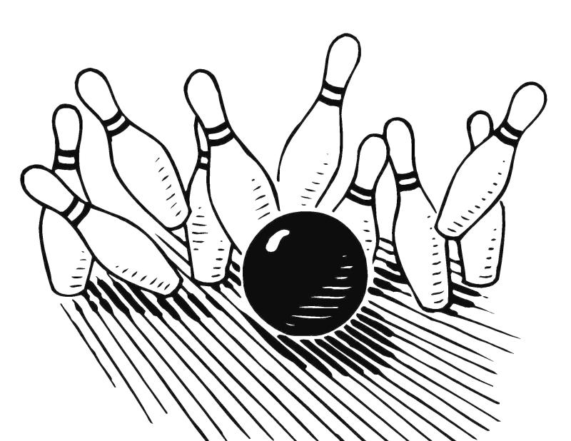 bowling clipart black and white