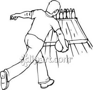 Man royalty free picture. Bowling clipart black and white