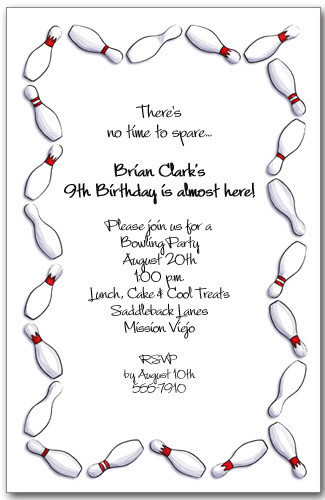 Invitation birthday party invitations. Bowling clipart border