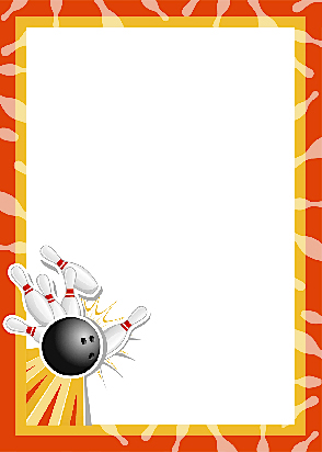 Pencil and in color. Bowling clipart border
