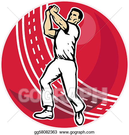 Stock illustration cricket player. Bowling clipart bowler