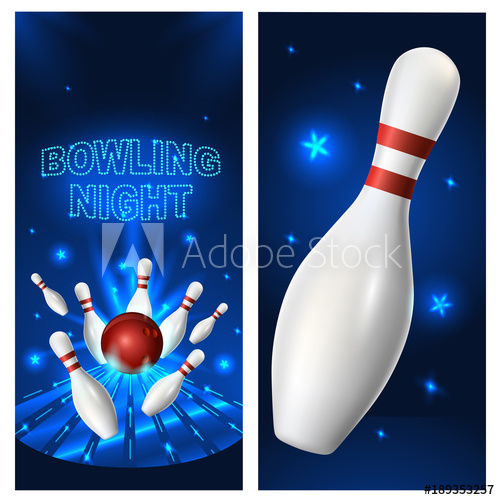 Flyer template vector clip. Bowling clipart bowling night