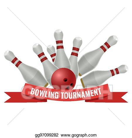 Bowling clipart bowling tournament. Vector logo design of