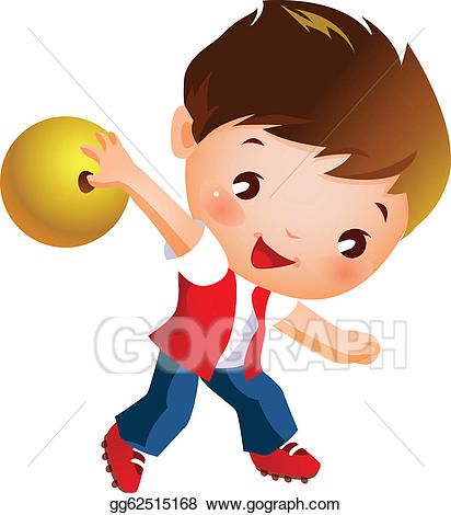 Bowling clipart boy. Vector illustration holding ball