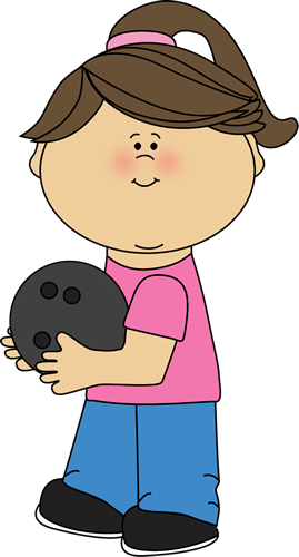 Girl with ball clip. Bowling clipart boy