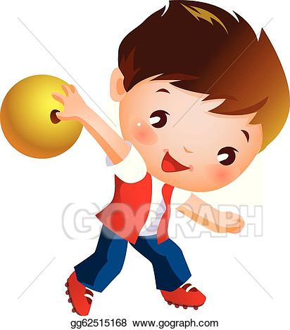 Bowling clipart child. Vector illustration boy holding