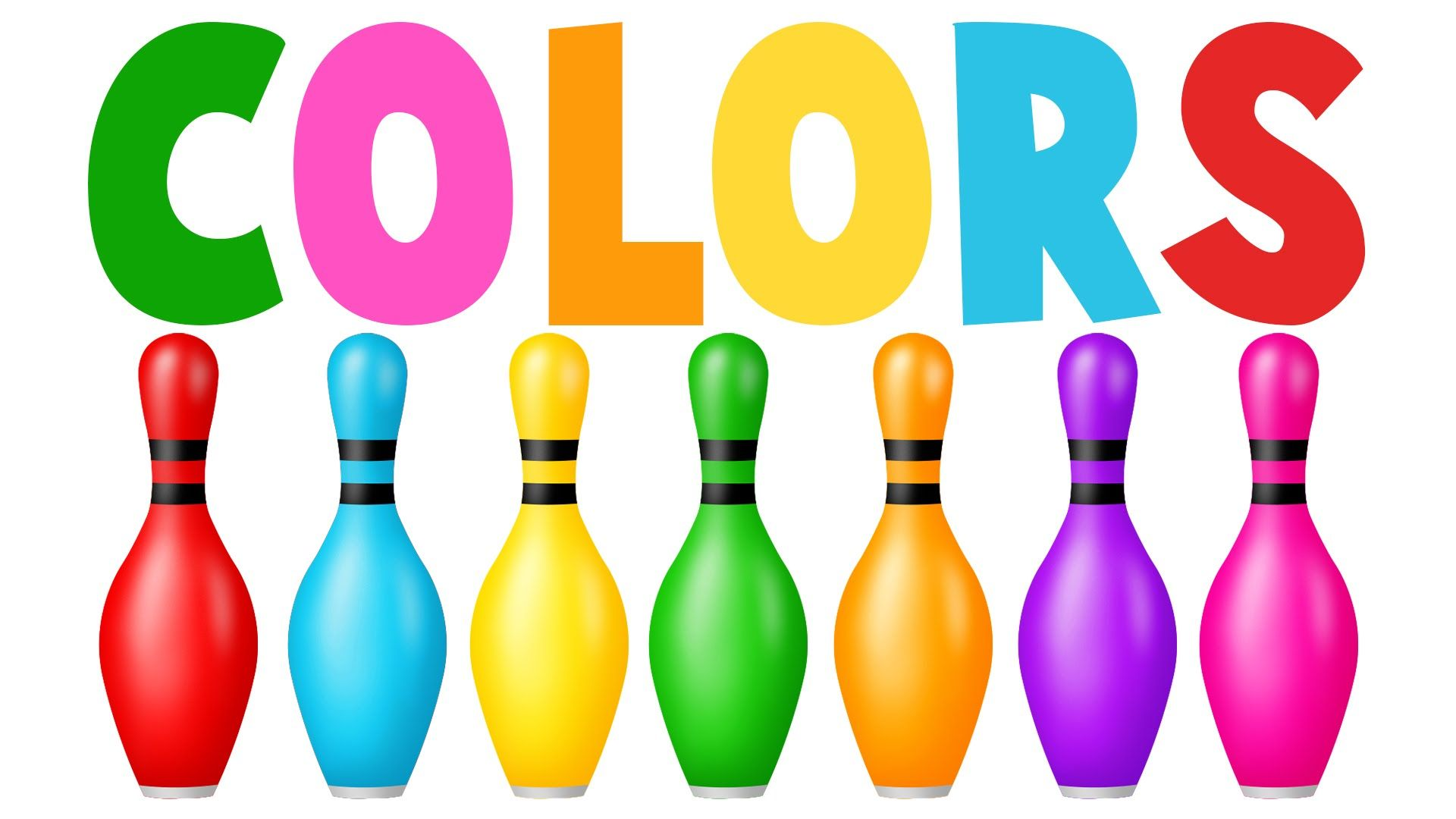 Learn colors with game. Bowling clipart colorful
