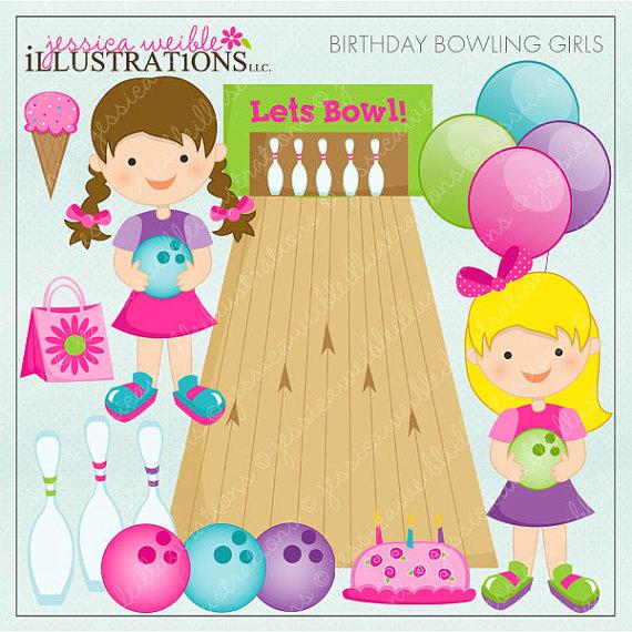 Birthday girls digital for. Bowling clipart cute