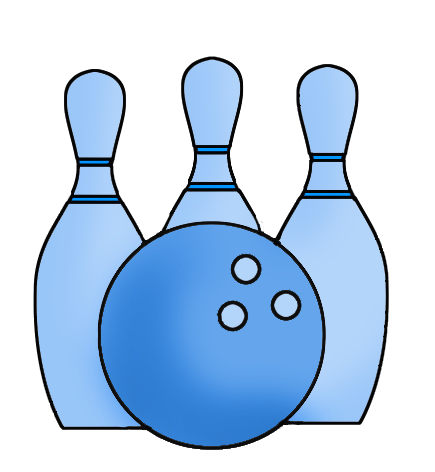 Bowling clipart drawing. Blue ball and cones