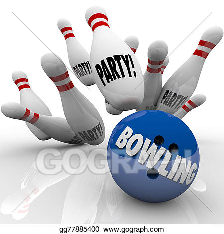 Party ball strikes pins. Bowling clipart event