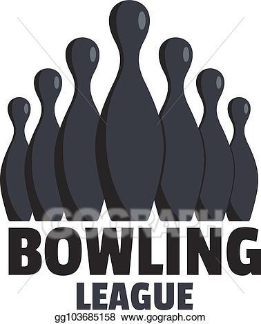 Vector art logo flat. Bowling clipart event