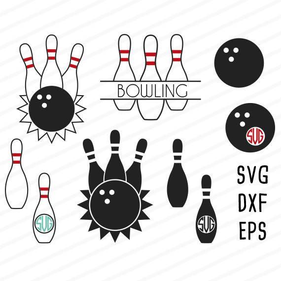 Bowling clipart file. Svg monogram split eps