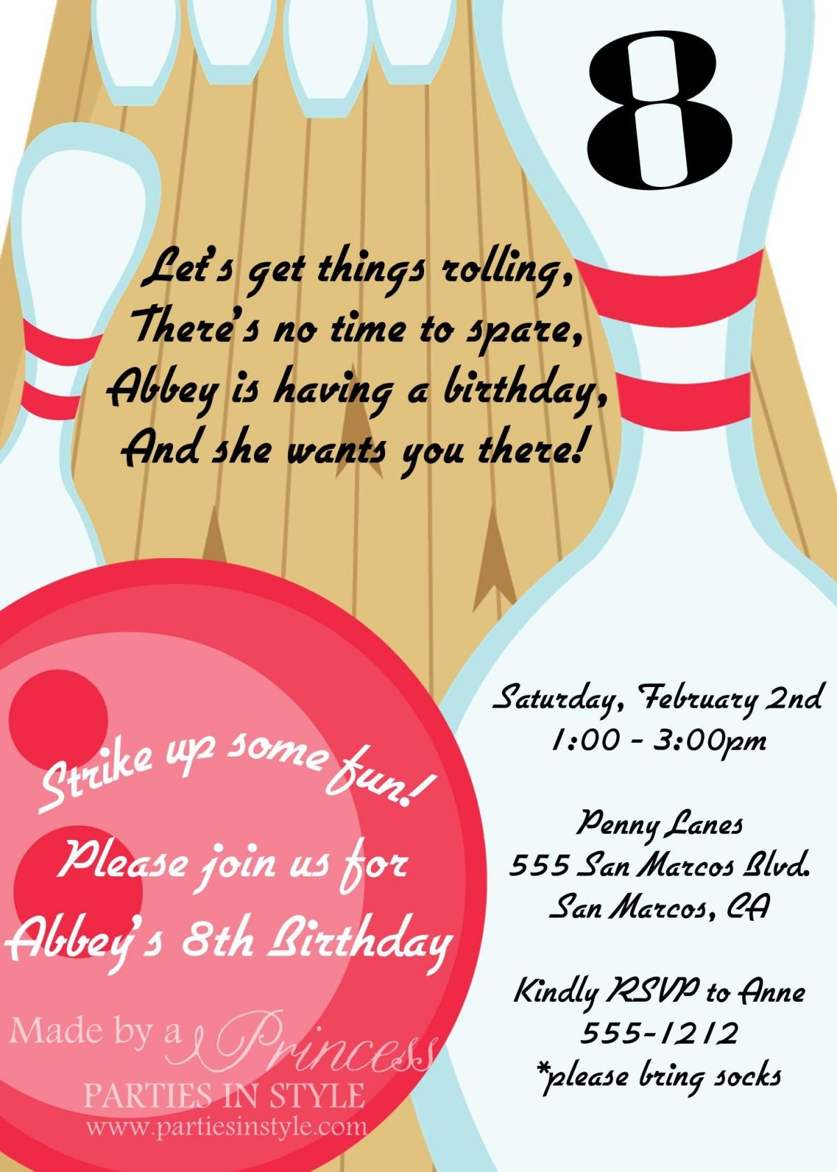 Bowling clipart invitation. Birthday party printable diy