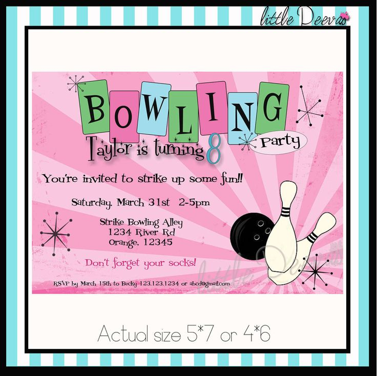 Birthday party invitations and. Bowling clipart invitation