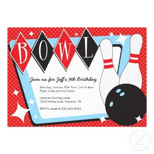 Bowling clipart invitation. Birthday invitations printable best