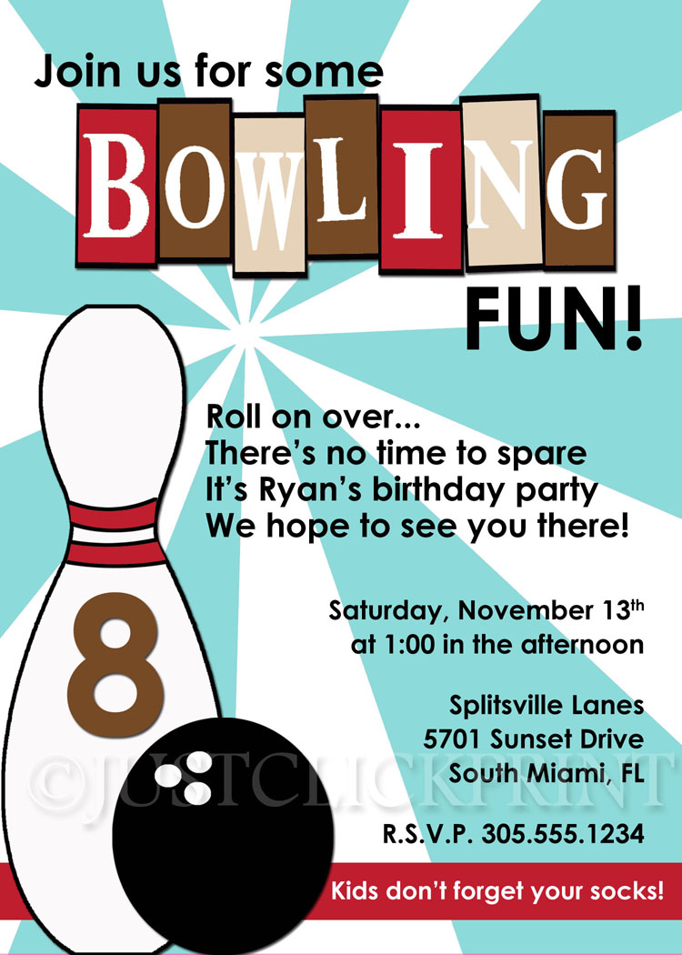 Bowling clipart invitation. Retro fun birthday blue