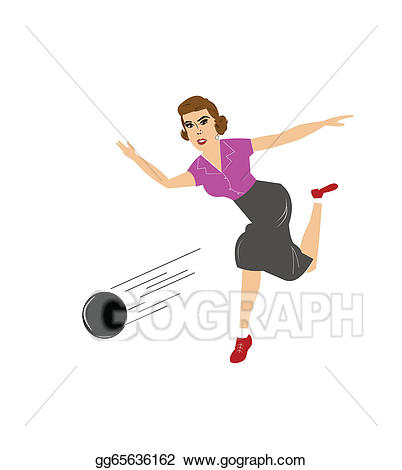 Vector stock clip art. Bowling clipart lady