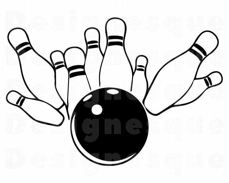 Bowling clipart logo. Svg files for cricut