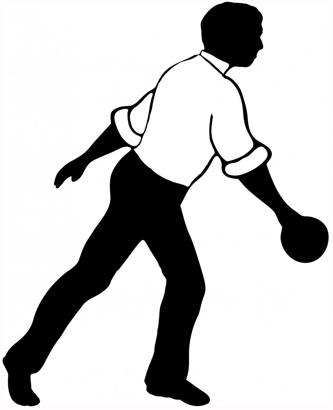 With ball in white. Bowling clipart man