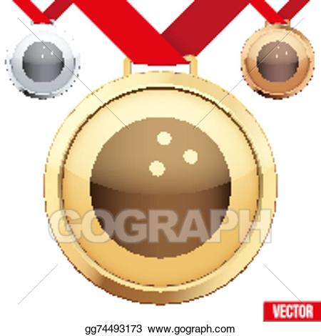 Vector gold with the. Bowling clipart medal