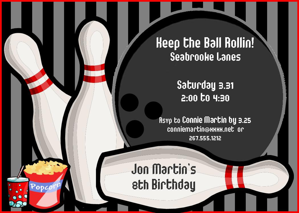 Bowling clipart printable. Party invitations templates ideas