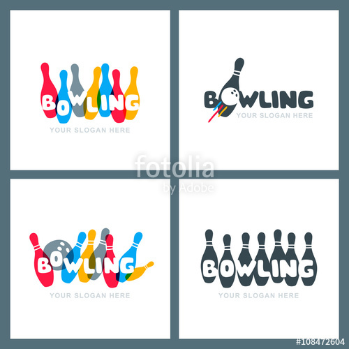Bowling clipart symbol. Set of vector hand
