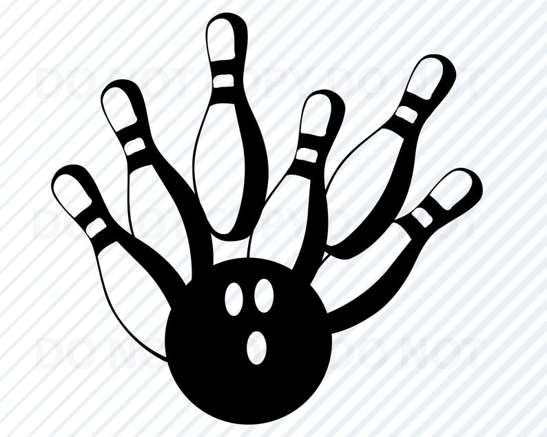 Bowling clipart vector. Strike svg file for