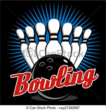 Bowling clipart vector. Graphic icon collection design
