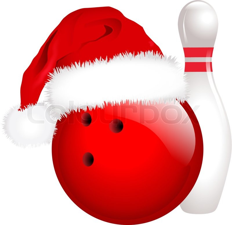 Christmas pencil and in. Bowling clipart vector