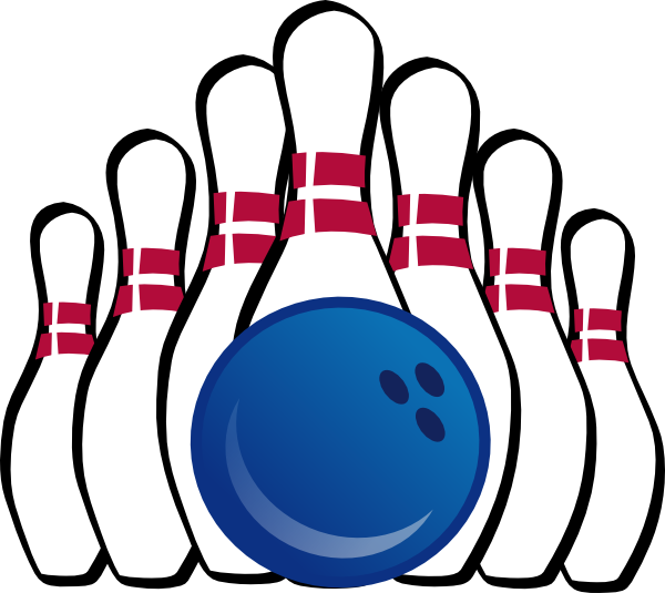 Ball and pins clip. Bowling clipart vector