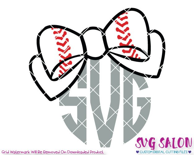 Bow monogram cut file. Bows clipart baseball