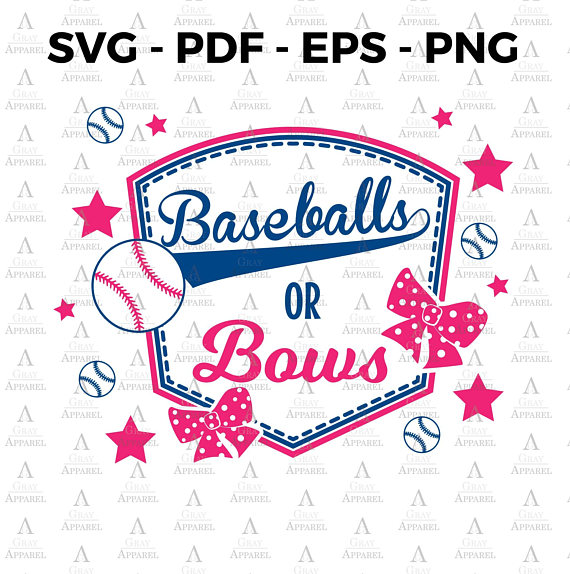 Or gender reveal svg. Bows clipart baseball