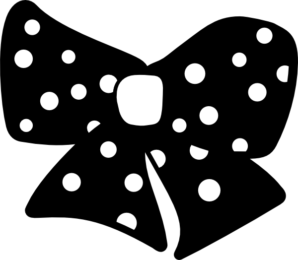 Black and white bow. Number 1 clipart polka dot