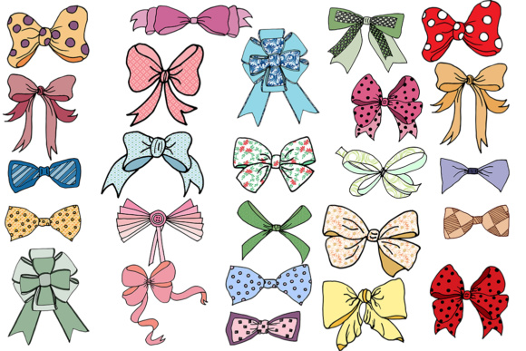 Bows clipart bow tie. Clip art doodle ribbons