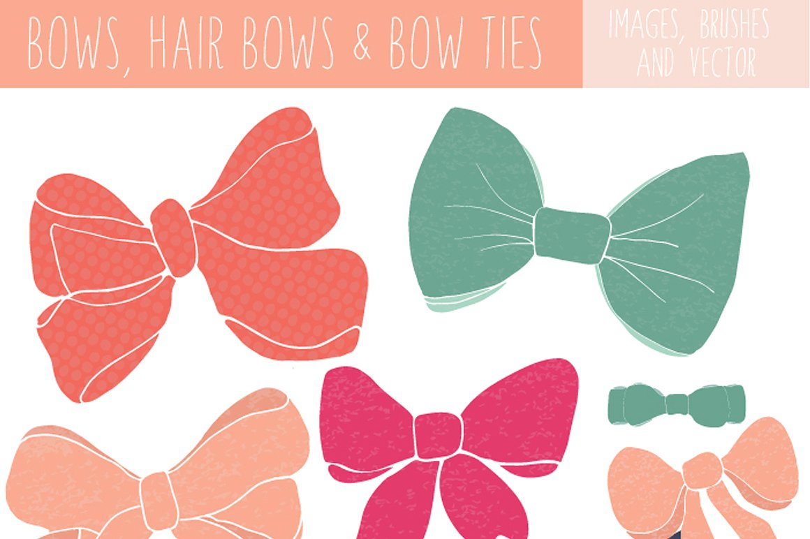 Bow Clip Art and Bow Tie Clip Art ~ Illustrations ~ Creative Market