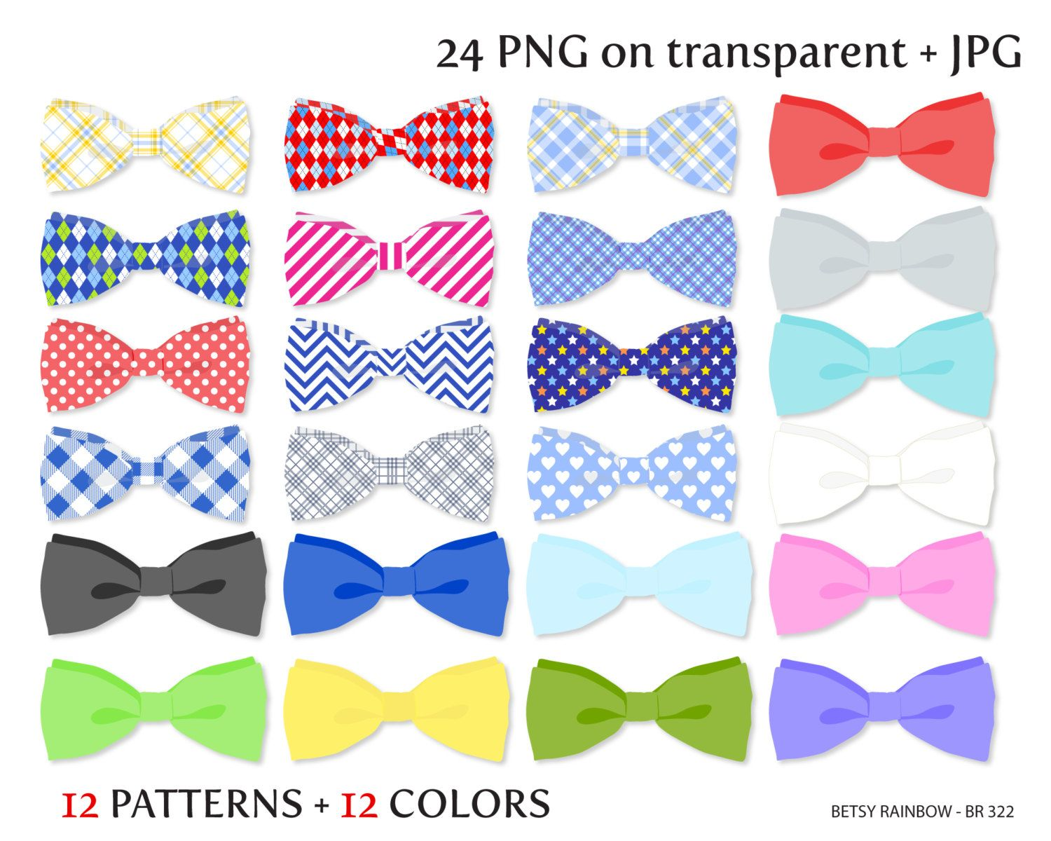 Bow tie clipart PNG and JPG neck bow tie clipart by BetsyRainbow ...