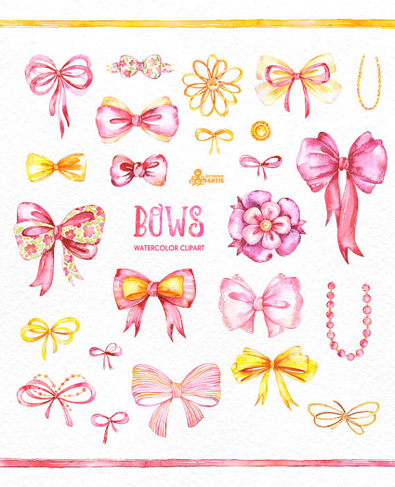 Watercolor handpainted diy elements. Bows clipart bowknot