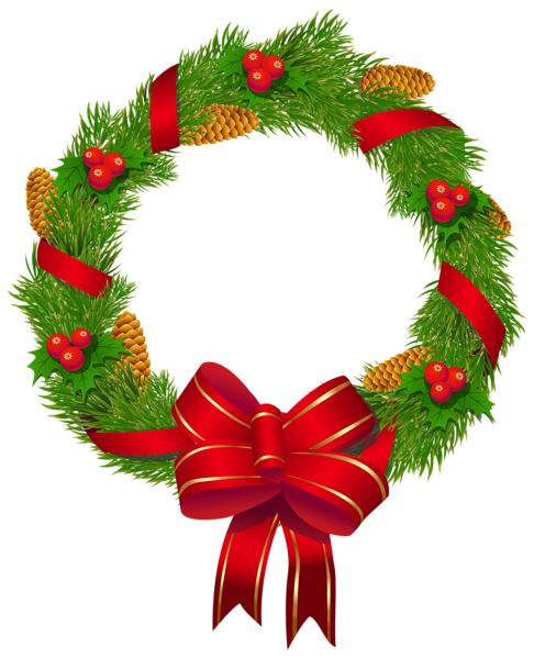 Wreath with ornaments and. Bows clipart christmas tree decoration