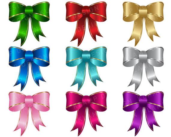 Digital ribbon . Bows clipart clip art