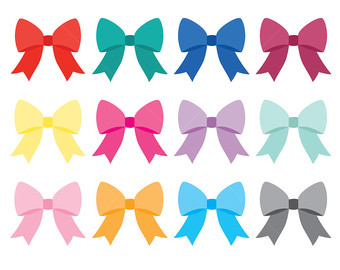 Bows clipart cute. Set digital solid color