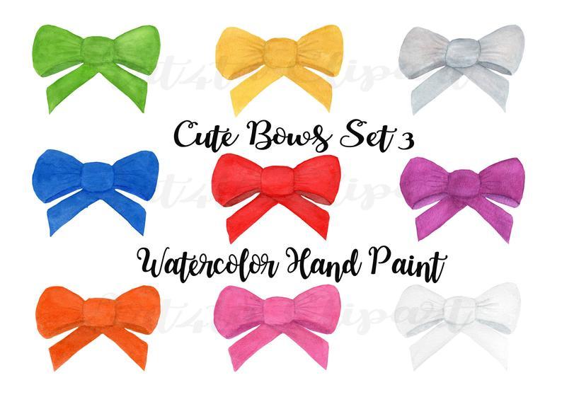 Set watercolor hand paint. Bows clipart cute