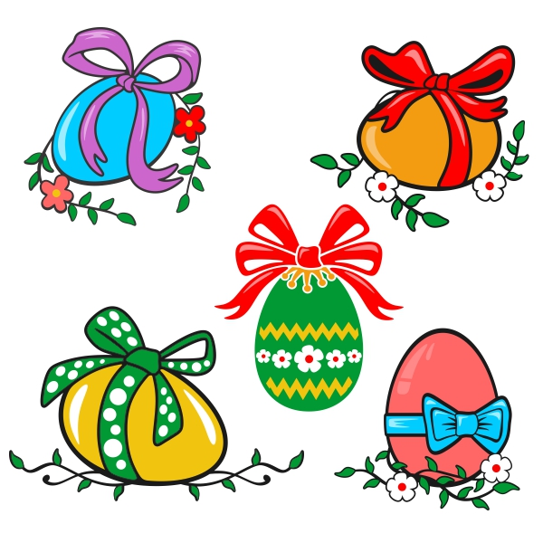 Egg bow svg cuttable. Bows clipart easter