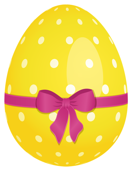 Yellow dotted egg with. Bows clipart easter