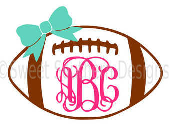 Bow svg etsy monogram. Bows clipart football